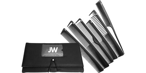 6 Pcs. Carbon Comb Set & Case JW, Combs, Case, Styling, hairstylist, 6